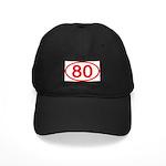 Number 80 Oval Black Cap