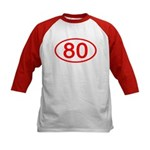 Number 80 Oval Kids Baseball Jersey