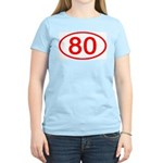 Number 80 Oval Women's Pink T-Shirt