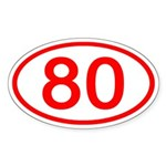 Number 80 Oval Oval Sticker