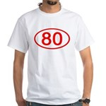 Number 80 Oval Premium White T-Shirt