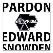 """Pardon Edward Snowden Square Car Magnet 3"""" x 3"""""""