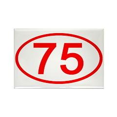 Number 75 Oval Rectangle Magnet