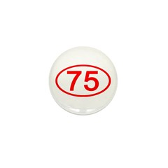 Number 75 Oval Mini Button (100 pack)