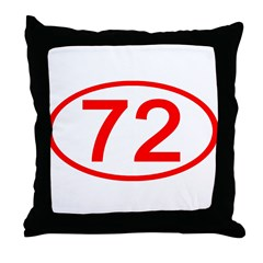 Number 72 Oval Throw Pillow