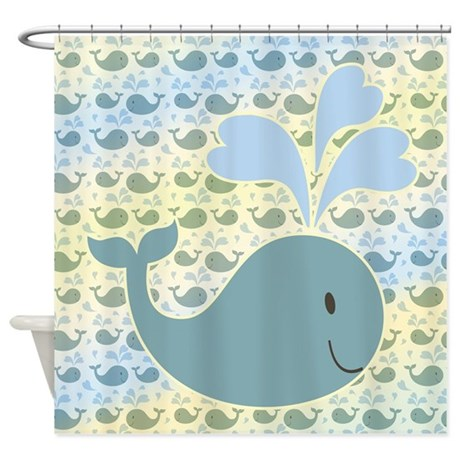 cute whale with pattern shower curtain by ironydesign