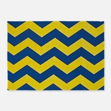 Navy and Yellow Chevron 5'x7'Area Rug