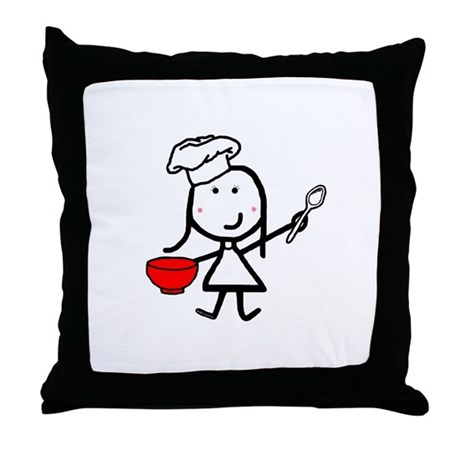 Girl & Chef Throw Pillow