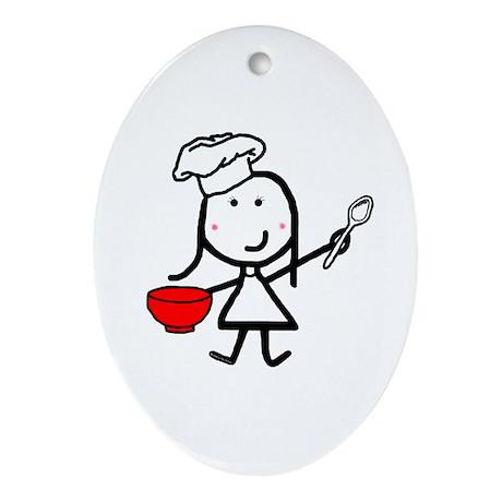 Girl & Chef Oval Ornament