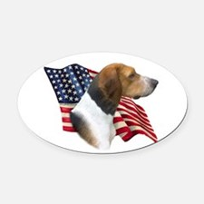 AmFoxhoundFlag.png Oval Car Magnet