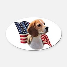 BeagleFlag.png Oval Car Magnet
