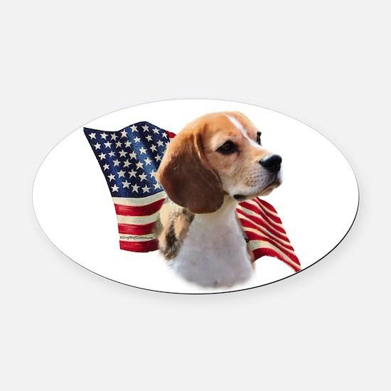 BeagleFlag.png Oval Car Magnet