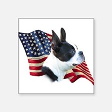 "BostonTerrierFlag.png Square Sticker 3"" x 3"""