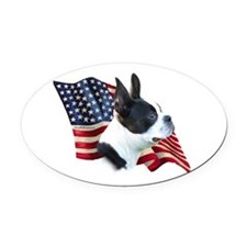 BostonTerrierFlag.png Oval Car Magnet