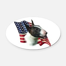 BullTerrierFlag.png Oval Car Magnet