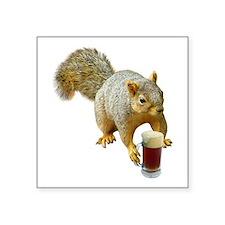 "Squirrel Mug Beer Square Sticker 3"" x 3"""