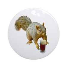 Squirrel Mug Beer Ornament (Round)