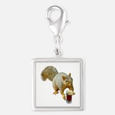 Squirrel Mug Beer Silver Square Charm