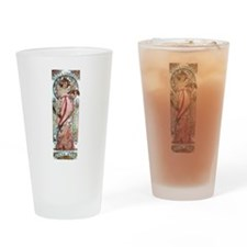 Mucha white star woman champagne Drinking Glass