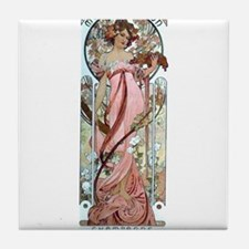 Mucha white star woman champagne Tile Coaster