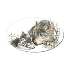 Watercolor Wolf Parent Cubs Decal Wall Sticker