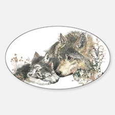 Watercolor Wolf Parent Cubs Decal