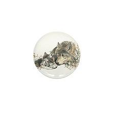 Watercolor Wolf Parent Cubs Mini Button (10 pack)