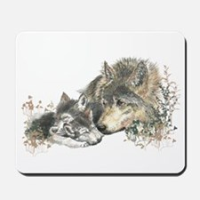 Watercolor Wolf Parent Cubs Mousepad
