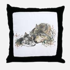 Watercolor Wolf Parent Cubs Throw Pillow