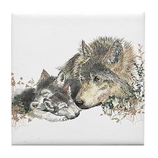 Watercolor Wolf Parent Cubs Tile Coaster