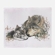 Watercolor Wolf Parent Cubs Throw Blanket