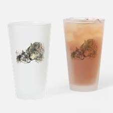 Watercolor Wolf Parent Cubs Drinking Glass