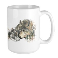 Watercolor Wolf Parent Cubs Ceramic Mugs