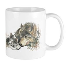 Watercolor Wolf Parent Cubs Small Mugs