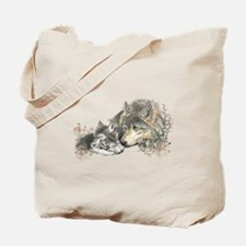 Watercolor Wolf Parent Cubs Tote Bag