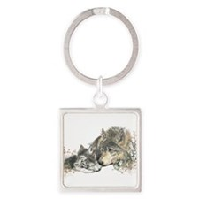 Watercolor Wolf Parent Cubs Keychains