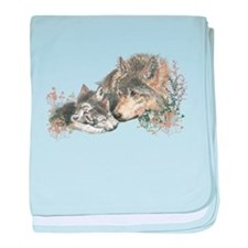 Watercolor Wolf Parent Cubs baby blanket