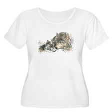 Watercolor Wolf Parent Cubs Plus Size T-Shirt