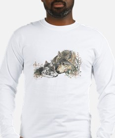 Watercolor Wolf Parent Cubs Long Sleeve T-Shirt