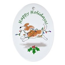 Holiday Beagle Oval Ornament