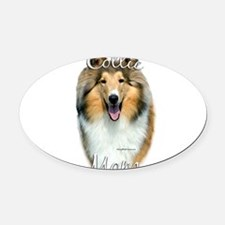 CollieroughMom.png Oval Car Magnet