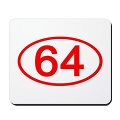 Number 64 Oval Mousepad