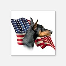 "DobermanFlag.png Square Sticker 3"" x 3"""