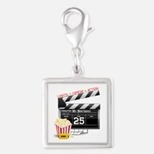 Hollywood Movie 25th Birthday Silver Square Charm