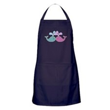Two Cute Blue and Pink Whales Apron (dark)