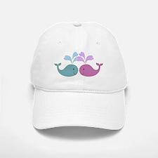 Two Cute Blue and Pink Whales Baseball Baseball Cap