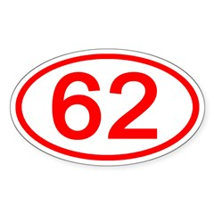 Number 62 Oval Oval Decal
