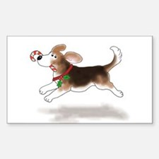 Holiday Beagle Rectangle Decal