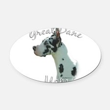 GreatDaneharlequinMom.png Oval Car Magnet