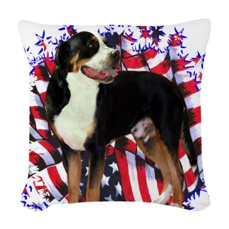 GreaterSwissPatriot.png Woven Throw Pillow